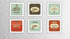 Kit Conjunto 6 Quadros Decorativos Coffee Kitchen Vintage