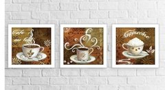 Kit Quadros Decorativos Coffee Cantinho do Café Cappuccino c Vidro