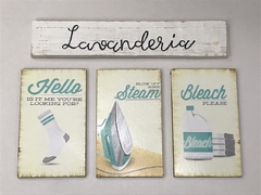 Kit 4 Placas Decorativas Laundry Lavanderia Vintage