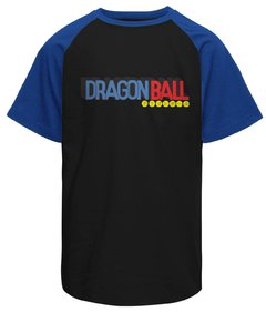 Camiseta raglan masculina Dragon Ball logo