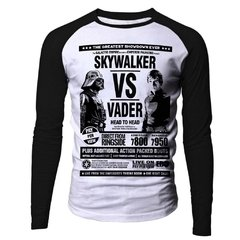 Camiseta Manga Longa Raglan Skywalker vs Vader Star Wars