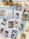 Stickers estampillas vintage papel washi * 60 unid.