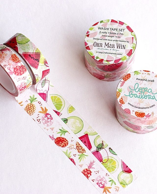 Washi tape Set 1,5cm x 14 m TUTTI FRUTTI LIMITED EDITION (OHN MAR WIN) - comprar online