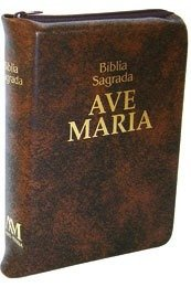 Bíblia Ave Maria - Média - Marrom com Zí...