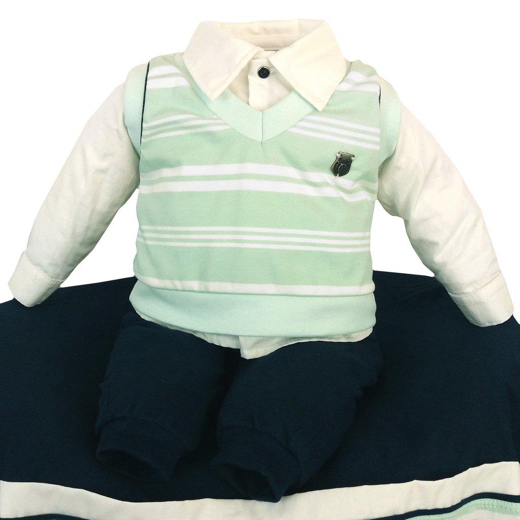 0fb94fcc6 ... Moda Bebê > Saída de Maternidade Com Colete Verde Luxo - Paraíso. 1