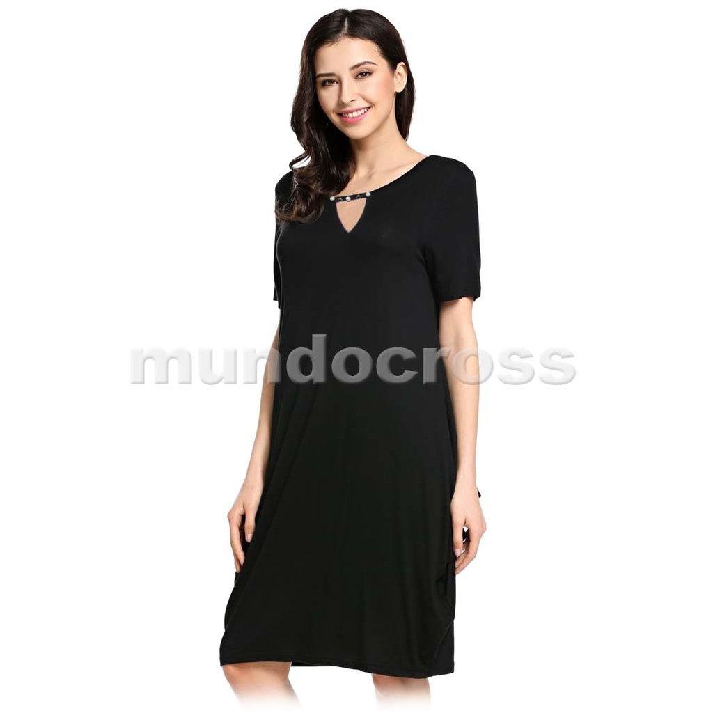 b4762b2bb3 Talles Muy Grandes Vestido Negro Casual Suelto Fresco Verano