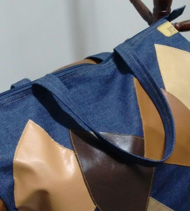 Bolsa Jeans Leques Couro - Made of Jeans