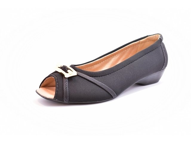 9bc6d62896 Sapato Feminino Tamanhos Grandes Peep Toe Renata Della Vecchia Preto Numeração  Especial 40