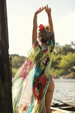 SAIDA QUIMONO CHIFFON ESTAMPADA TROPICALIA 837407 NEW BEACH