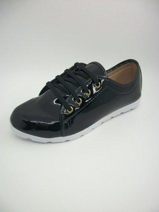 Tênis Lady Shoes Preto Solado Branco Tra...