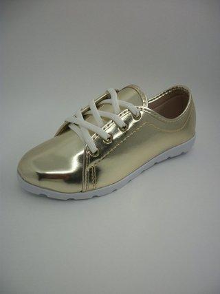 Tênis Lady Shoes Dourado com Solado Branco Tratorado