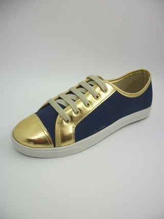 Tênis TODA CHIC Jeans Bico Dourado