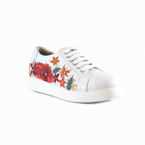 Zapatilla Bordada Flores Blanco  94L23 en internet