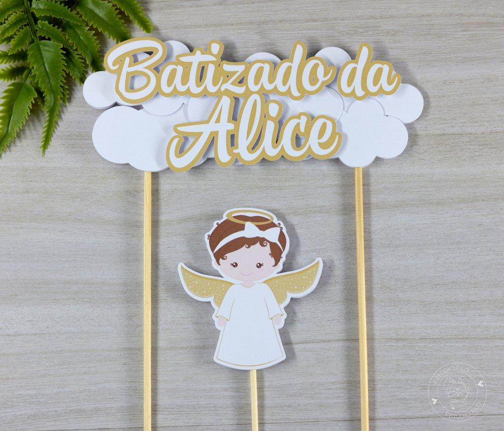 Topo De Bolo Batizado Anjinha Estudio Filo