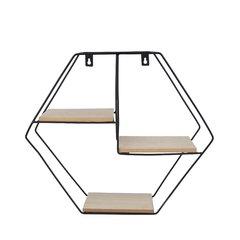 Prateleira Metal Madeira Geo Forms Hexago Preto