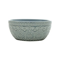 Bowl Cerâmica Decor Embossed Heart And Flowers Azul - comprar online