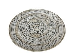 Bandeja madeira decorativa round embossed points
