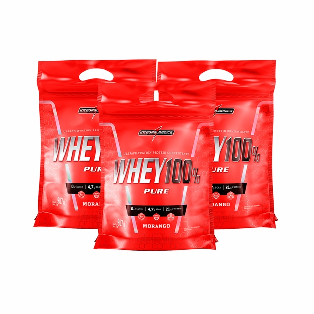 COMBO KIT 3UN. SUPER WHEY 100% 900g REFIL - INTEGRALMEDICA