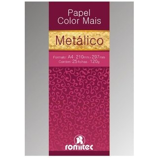 Papel A4 Metalizado Color Mais Prata 120g 25 Fls