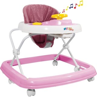 Andador Musical 6 Rodas Regulavel Rosa Styll Baby