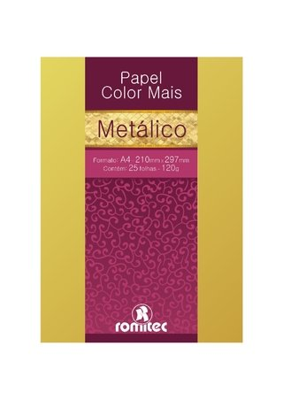 Papel A4 Metalizado Color Mais Ouro 180g 15 Fls