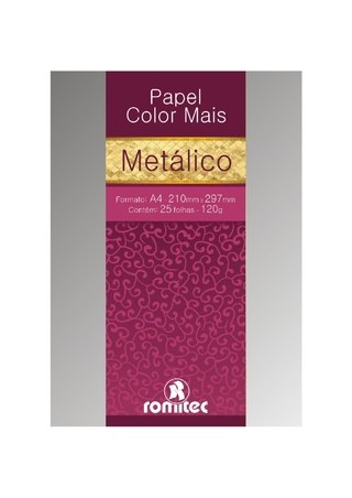 Papel A4 Metalizado Color Mais Prata 180g 15 Fls