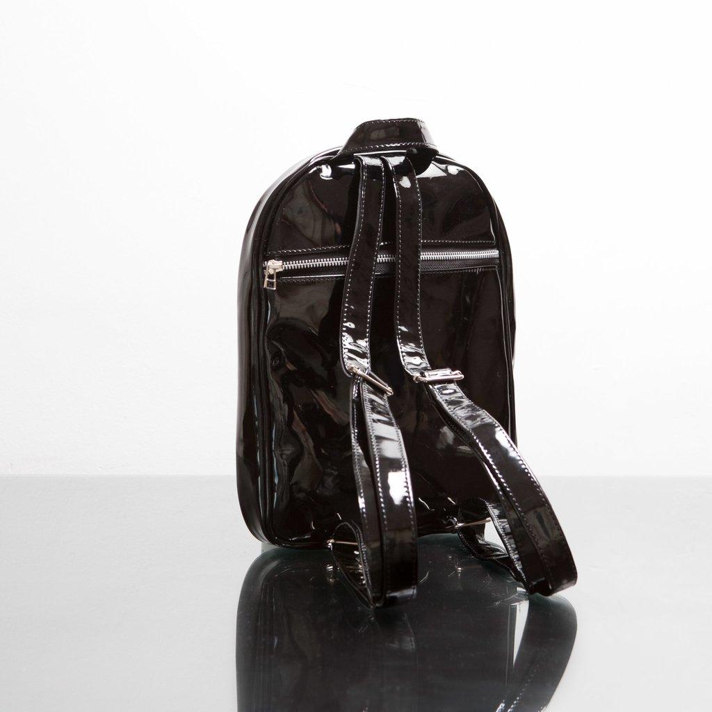 seleccione para el despacho fabricación hábil comprar más nuevo Mini Mochila Charol Negra (Cierre Plateado)