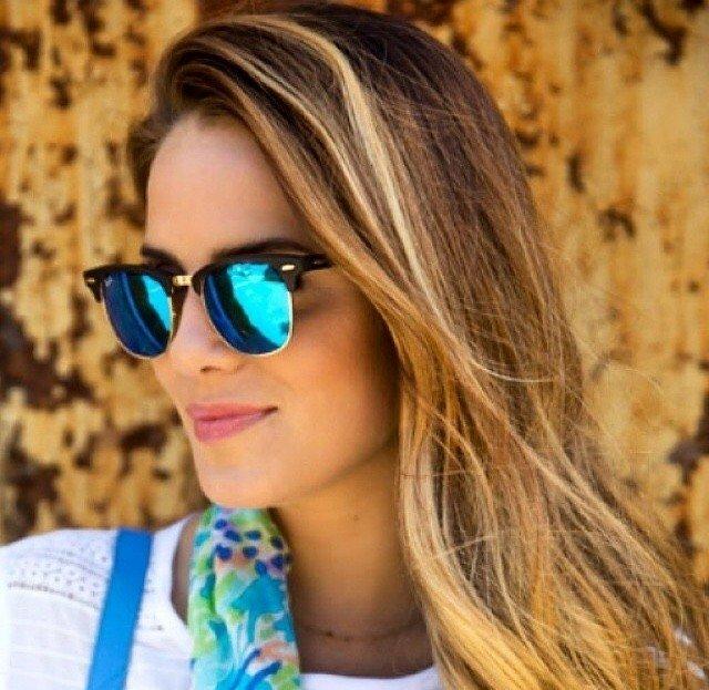 83755d65e3c88 Oculos de Sol Estilo Ray-Ban Clubmaster espelhado - Azul