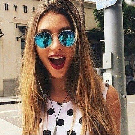 11e9a6ec5f13d Óculos de sol estilo RAY-BAN ROUND ESPELHADO - BLUE
