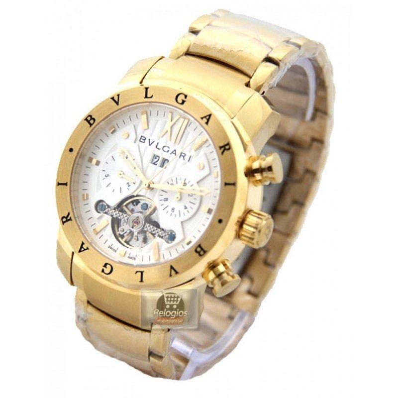19cf56c99e8 Relógio Automático Branco Dourado Bullgari Promocional. 52% OFF