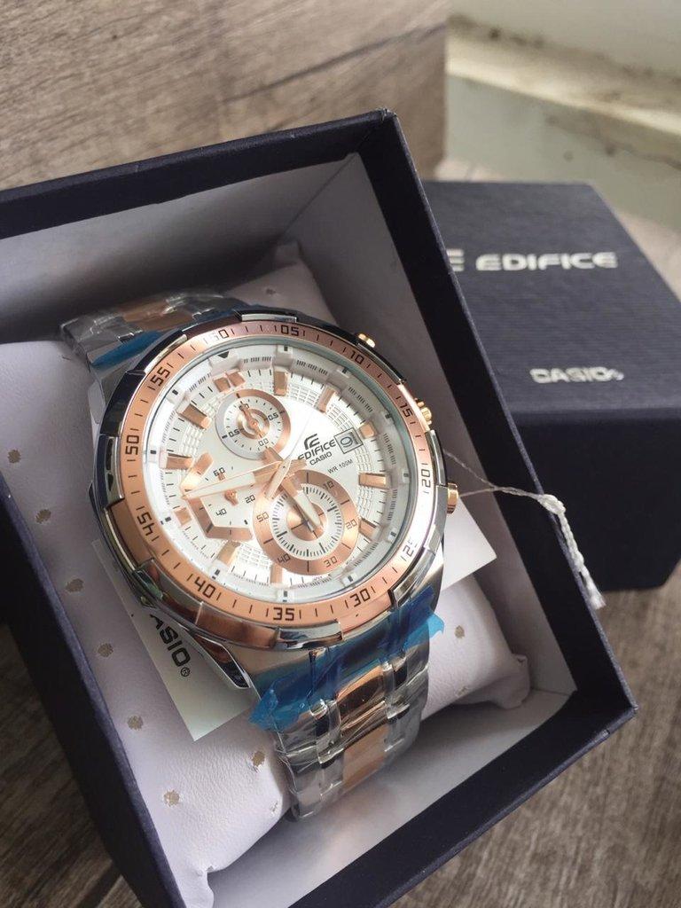 38213cba47e Relógio Casio Masculino Edifice EFR-539 Prata Rose