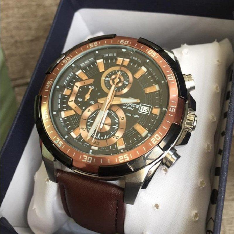 caa0ed7bc220 Relógio Masculino Casio Edifice EFR-539 Pulseira De couro Marrom