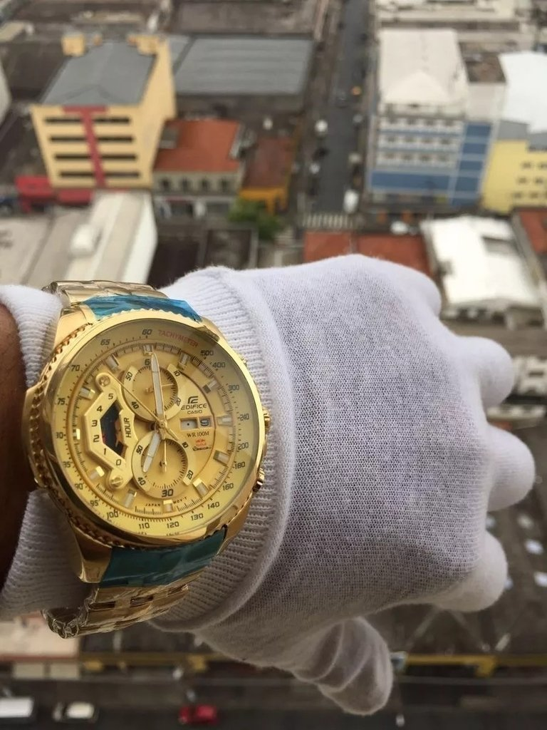 a0c0c1b925d Relogio Casio Edifice Ef 558 Dourado Branco Gold. 40% OFF