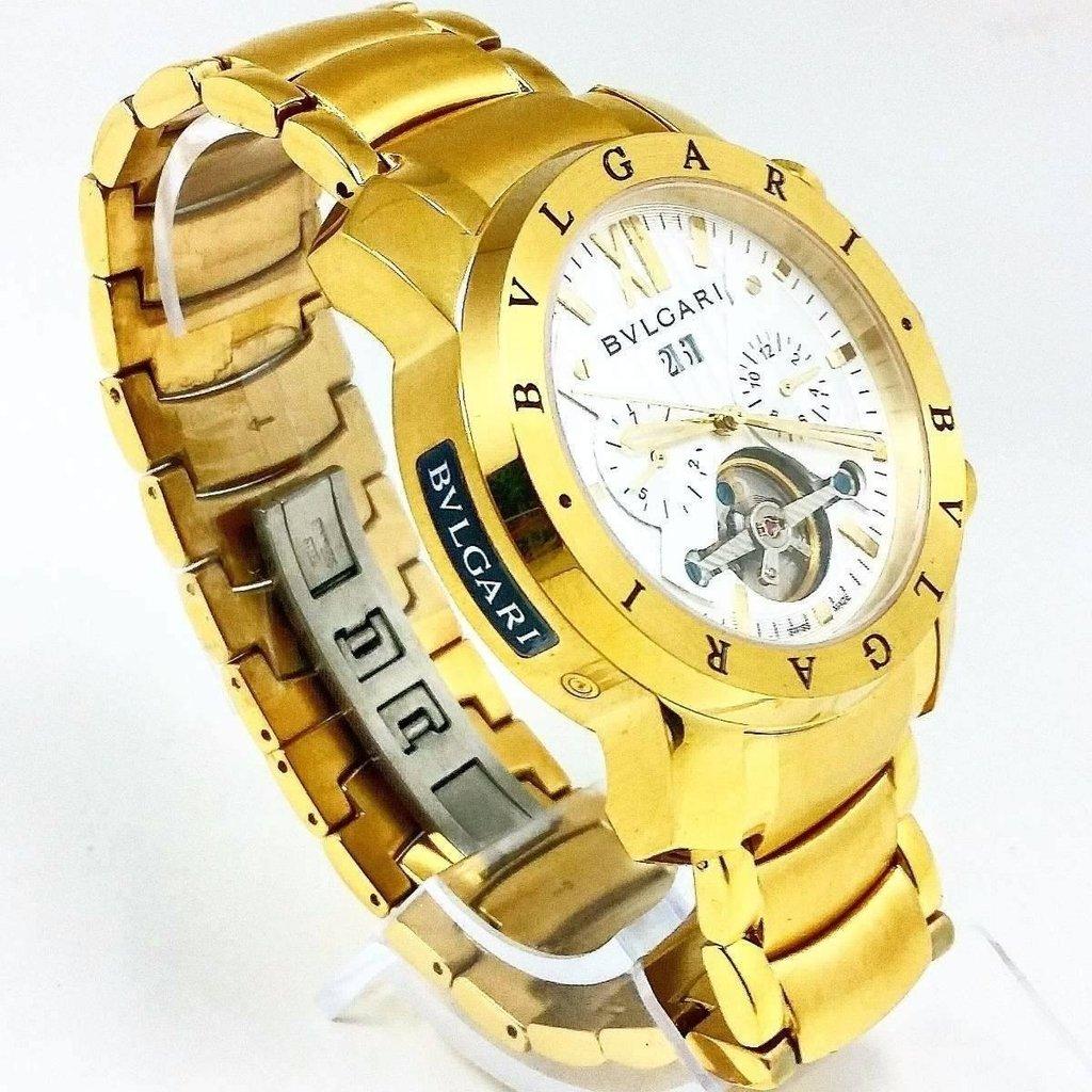 06a6ab09625 Relógio Automático Branco Dourado Bullgari Promocional. 52% OFF