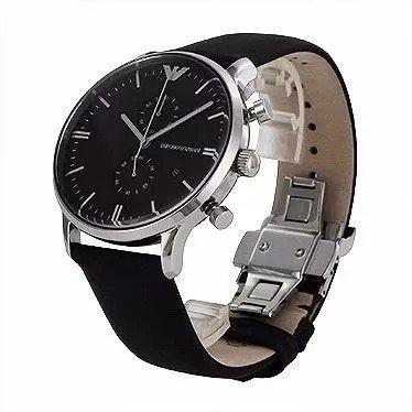 6c279e4c2d055 Relógio Emporio Armani Ar0397 Couro Prata Preto