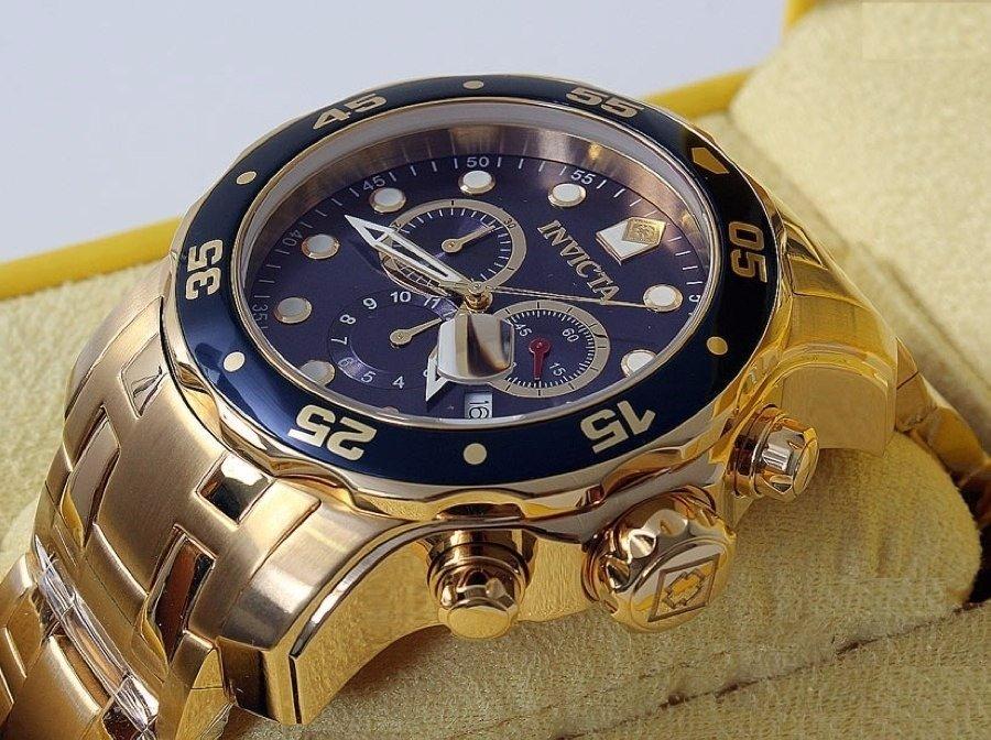 c9b3ce13296 Relogio Invicta Subaqua 0073 - Banhado A Ouro 18 K Diver