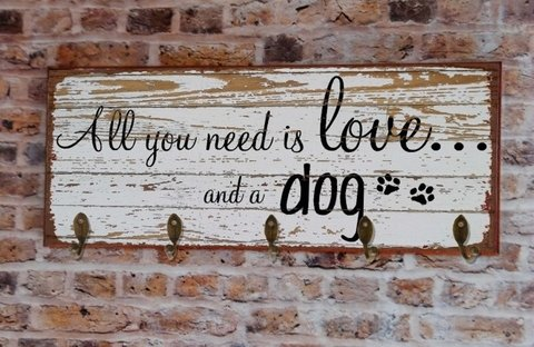 Cabideiro GRANDE 20x50 cm - All You Need Is Love and... Dog ou Cat