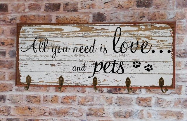 Cabideiro GRANDE 20x50 cm - All You Need Is Love and... Dog ou Cat - loja online