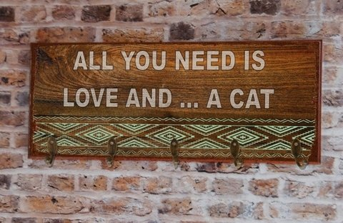 Cabideiro GRANDE 20x50 cm - All You Need Is Love and... Dog ou Cat (Rustic)