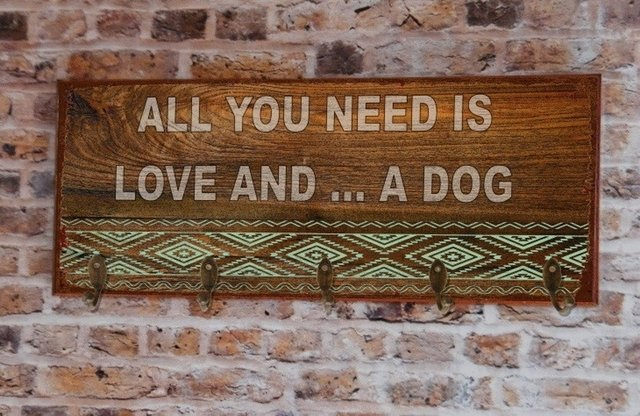 Cabideiro GRANDE 20x50 cm - All You Need Is Love and... Dog ou Cat (Rustic) na internet