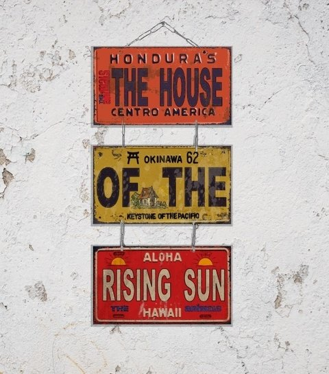 Conj. 3 Placas Canções e Inspiradoras House Of The Rising Sun