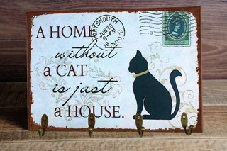 Porta Chaves Home Cat 24x36 cm
