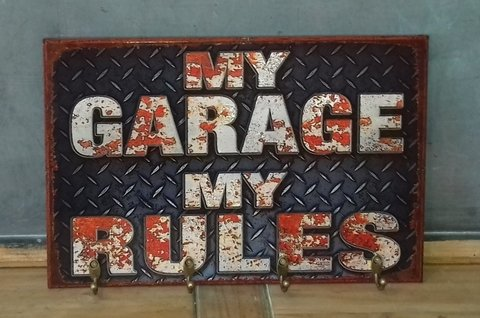 Cabideiro/Porta Chaves 24x36 cm - My Garage My Rules