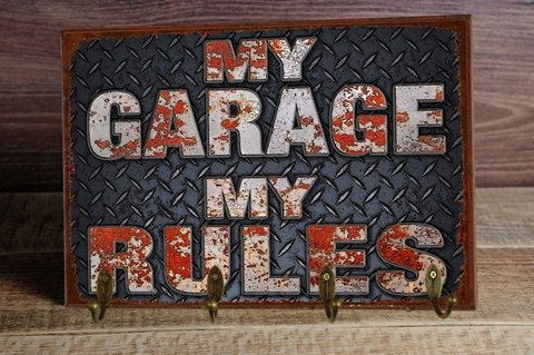 Cabideiro/Porta Chaves 24x36 cm - My Garage My Rules na internet
