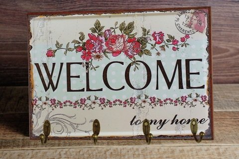 Cabideiro/Porta Chaves 24x36 cm - Welcome Flowers