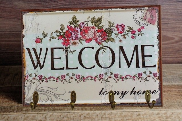 Cabideiro/Porta Chaves 24x36 cm - Welcome Flowers na internet