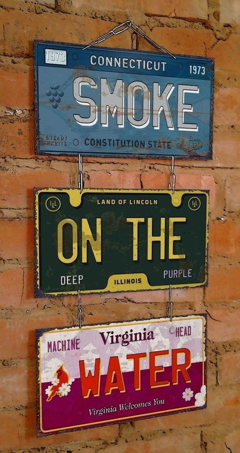 Conjunto 3 Placas Smoke On The Water