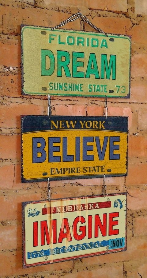Conjunto 3 Placas Dream Believe Imagine - comprar online