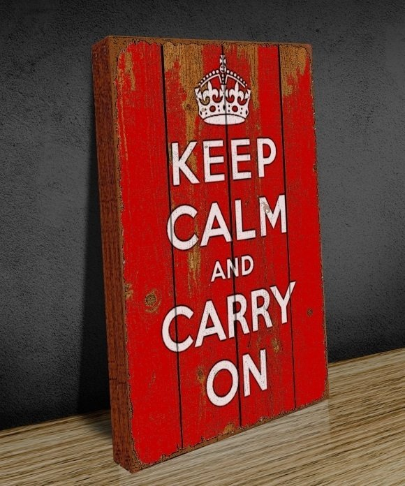 Tela GRANDE 40x60 Keep Clam Carry On Red na internet