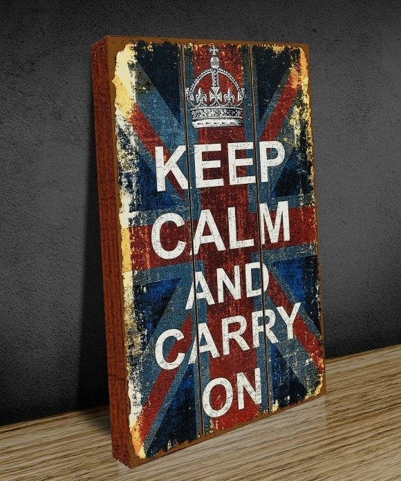 Tela GRANDE 40x60 Keep Calm Old Flag na internet